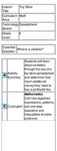 Toy Store Lesson Plan