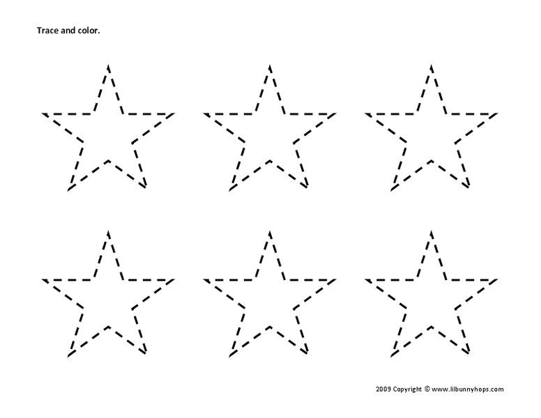 Trace And Color: Stars Worksheet For Kindergarten