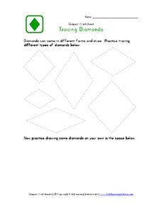 Tracing Diamonds Worksheet