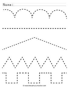 Tracing Lines Worksheet for Pre K   Lesson Planet