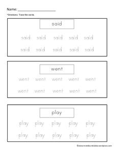 Tracing Sight Words Worksheet