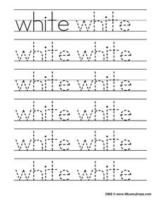 "Tracing the Word ""White"" Worksheet"
