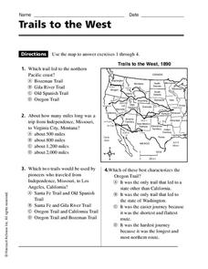 Trails to the West Worksheet