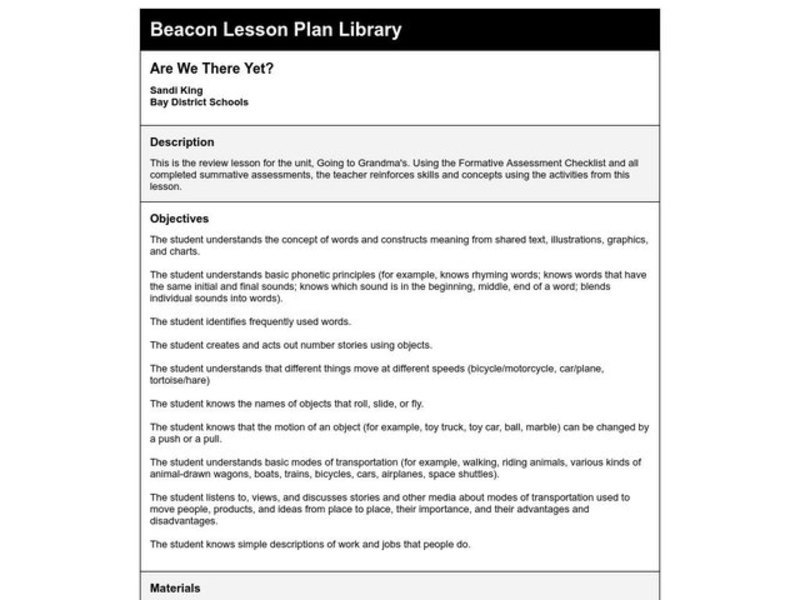 Are We There Yet? Lesson Plan