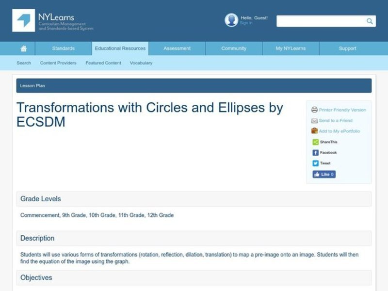 Transformations with Circles and Ellipses Lesson Plan