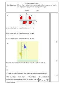 Transformations Worksheet Worksheet