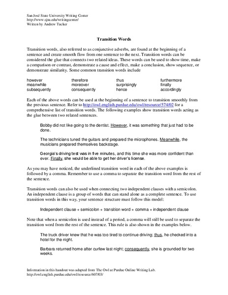 Transition Words Worksheet for 9th - 12th Grade | Lesson Planet