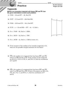 Trapezoids Worksheet