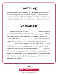 Travel Log Worksheet