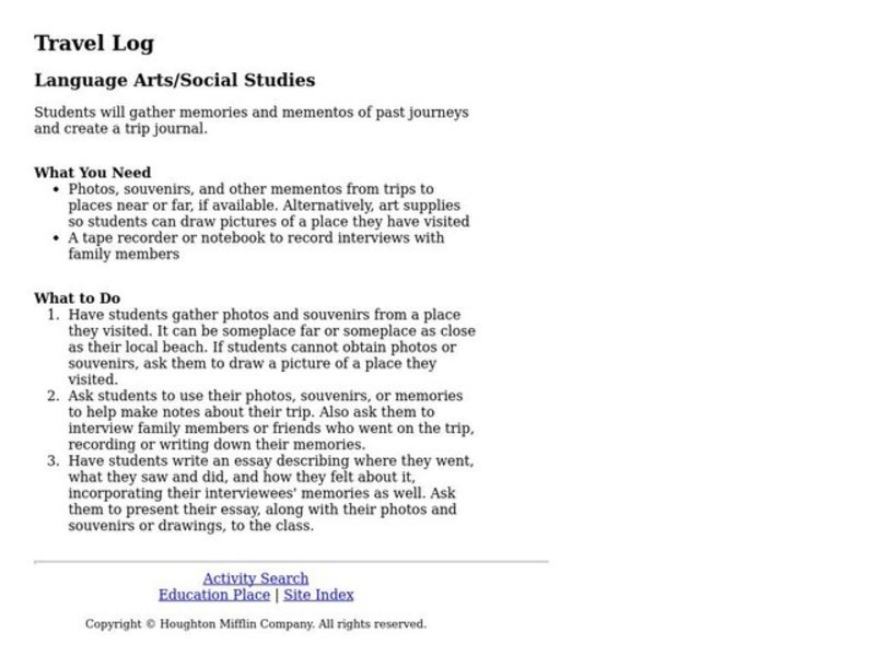 Travel Log Lesson Plan