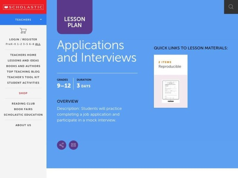 Applications and Interviews Lesson Plan