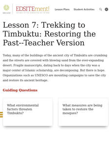 Trekking to Timbuktu: Restoring the Past Activities & Project