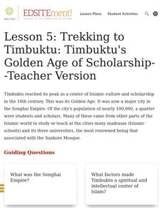 Trekking to Timbuktu: Timbuktu's Golden Age of Scholarship Lesson Plan