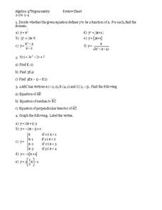 Trigonometric Functions Worksheet