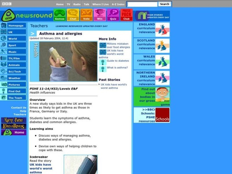 Asthma and Allergies Lesson Plan