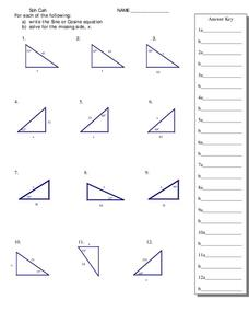Trigonometry and Right Triangles Worksheet