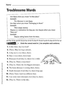 Troublesome Words Worksheet