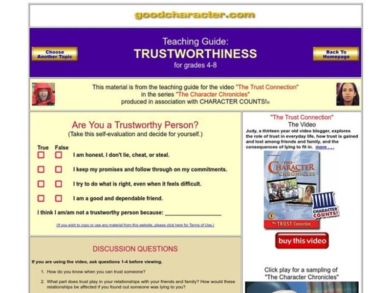 Worksheets Trustworthiness Worksheets trustworthiness 4th 8th grade worksheet lesson planet