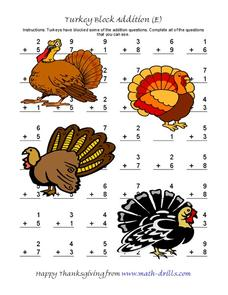 Turkey Block Addition (E) Worksheet