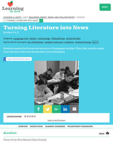 Turning Literature into News Lesson Plan