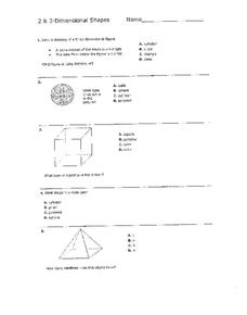 Two and Three-Dimensional Shapes Worksheet