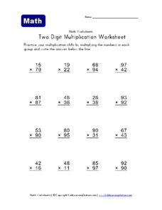 Two Digit Multiplication Worksheet Worksheet