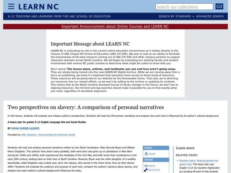 Two perspectives on slavery: A comparison of personal narratives Lesson Plan