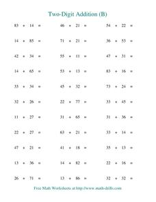 Two-Digit Addition (B) Worksheet