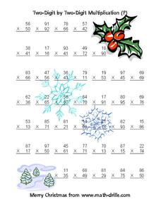 Two-Digit by Two-Digit Multiplication (F) Worksheet