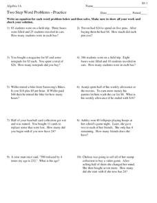 Two-Step Word Problems Worksheet