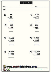 Two-Digit Subtraction Worksheet