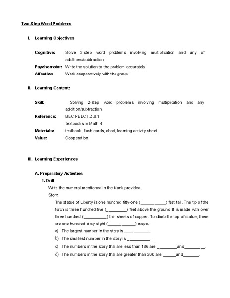 Two-Step Word Problems Lesson Plan