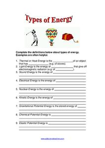 Types of Energy Worksheet for 2nd - 5th Grade | Lesson Planet