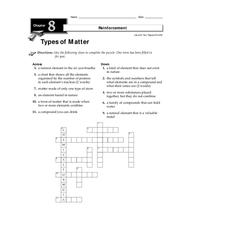 Types of Matter Worksheet