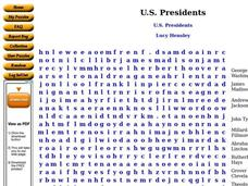 U.S. Presidents Word Search Worksheet