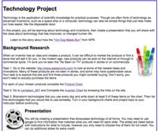 Technology and Inventions Project Activities & Project