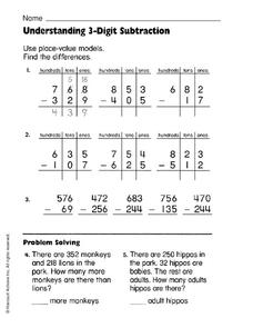 Understanding 3-Digit Subtraction Worksheet