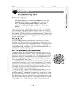 Understanding Bias Worksheet