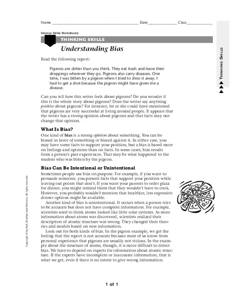 Understanding Bias Worksheet for 6th - 9th Grade | Lesson Planet