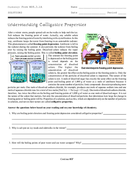 Worksheets Colligative Properties Worksheet understanding colligative properties 9th 12th grade worksheet lesson planet