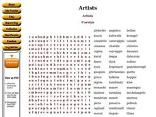 Artists Worksheet