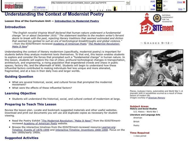 Understanding the Context of Modernist Poetry Lesson Plan