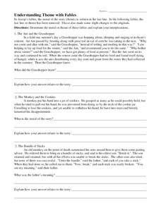 Understanding Theme with Fables Worksheet