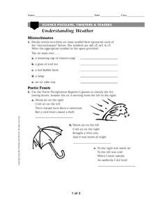 Understanding Weather Worksheet