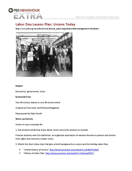 Unions Today Lesson Plan