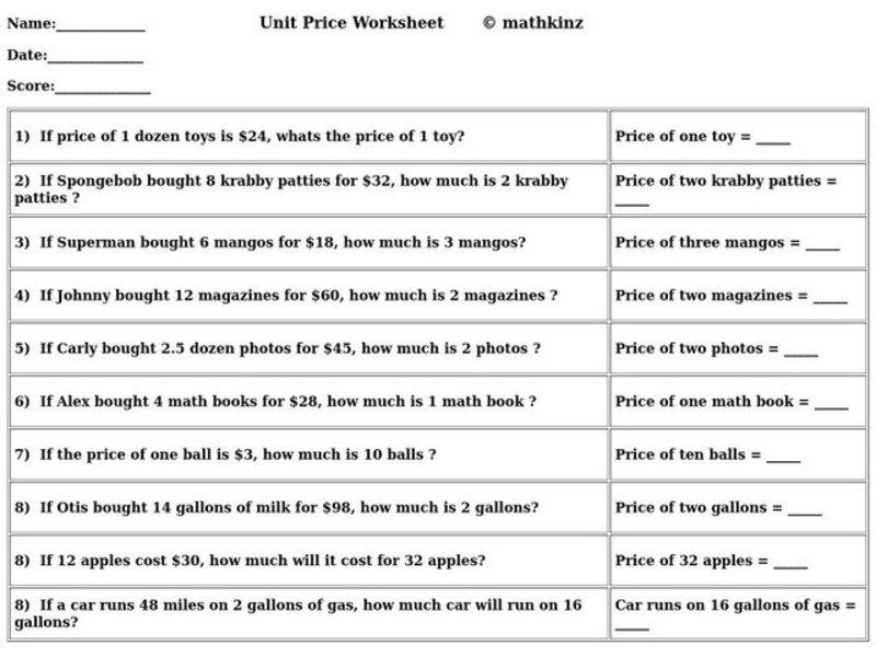 Unit Price 4th 5th Grade Worksheet – Unit Price Worksheet