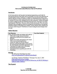 Unit on International Monetary Fund and World Bank Lesson Plan