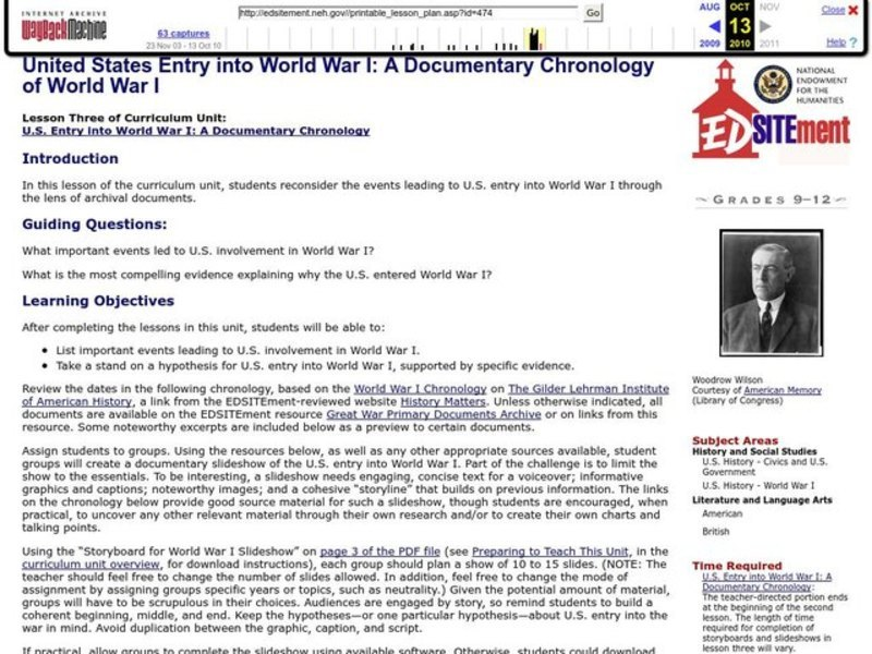 United States Entry into World War I: A Documentary Chronology of World War I Lesson Plan