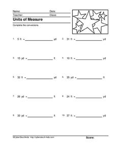 Units of Measure Worksheet