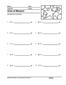 Units of Measure: Feet and Yards Worksheet